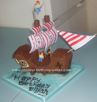 Homemade Chocolate Pirate Ship Birthday Cake