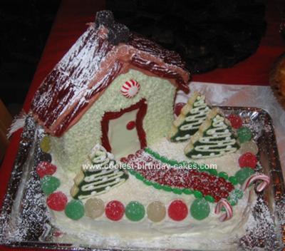 Homemade Christmas Cottage Cake