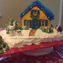 Homemade Christmas House Cake