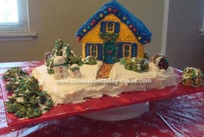 Homemade Christmas House Cake