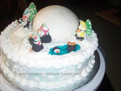 Homemade  Christmas Penguins Cake