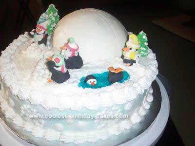 Homemade  Christmas Penguins Cake