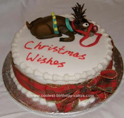 Homemade Christmas Reindeer Cake