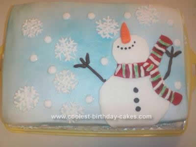 Homemade Christmas Snowman Cake