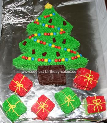 Cute Homemade Christmas Tree Cake And Presents
