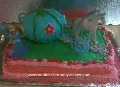 Homemade Cinderella With Her Coach Cake