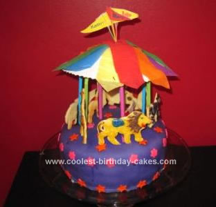 Homemade Circus Carousel Birthday Cake