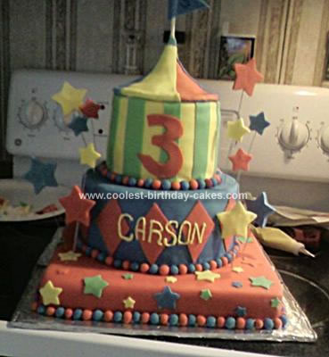 Homemade Circus Tent Birthday Cake