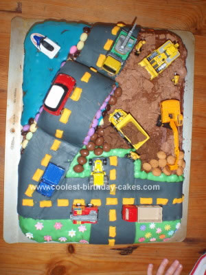 Homemade City Scene 4th Birthday Party Cake