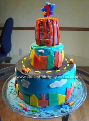 Homemade City Scene First Birthday Cake