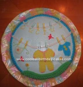 Homemade Clothesline Baby Shower Cake