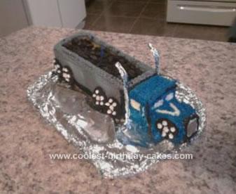 Homemade Coal Truck Birthday Cake