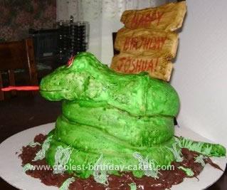 Homemade Coiled Snake Birthday Cake