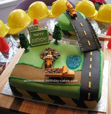 Homemade Construction Birthday Cake