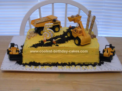 Astonishing Cute Homemade Construction Cake With Toy Bulldozers Personalised Birthday Cards Beptaeletsinfo
