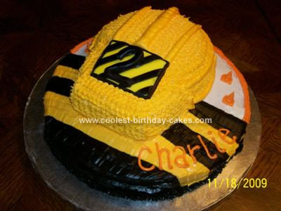 Homemade Construction Hard Hat Cake