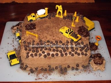 Marvelous Cool Construction Site Cake For Construction Theme Party Personalised Birthday Cards Veneteletsinfo