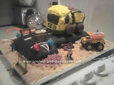 Homemade Construction Site Dumper Truck Cake