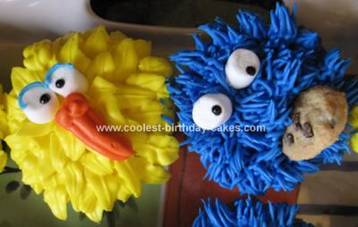Homemade Cookie Monster and Big Bird Cupcakes