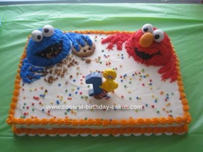 Homemade Cookie Monster and Elmo Cake