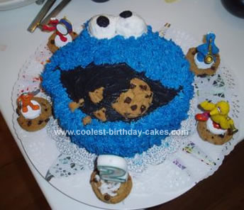 Cool Homemade Cookie Monster Face Birthday Cake With Cookies
