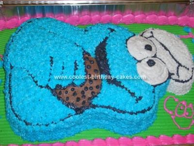 Cool Homemade 2d Chef Cookie Monster Birthday Cake