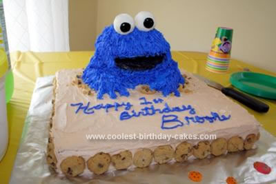 Surprising Cool Homemade Cookie Monster Birthday Cake For My Daughters 1St Funny Birthday Cards Online Elaedamsfinfo