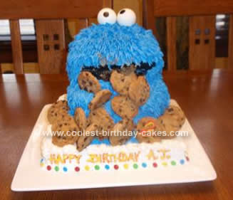 Cute Homemade 3D Cookie Monster Birthday Cake With Cookies
