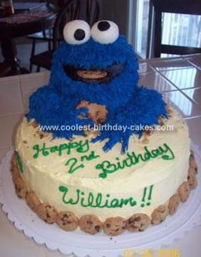 Homemade Cookie Monster Cake