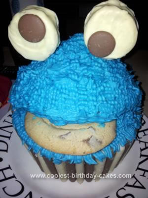 Coolest Cookie Monster Giant Cupcake Birthday Cake