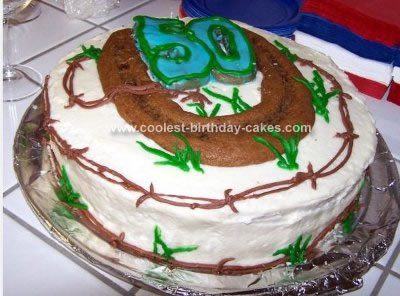 Homemade Country Horseshoe Birthday Cake