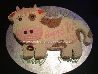 Enjoyable Coolest Cow 1St Birthday Cake Funny Birthday Cards Online Overcheapnameinfo