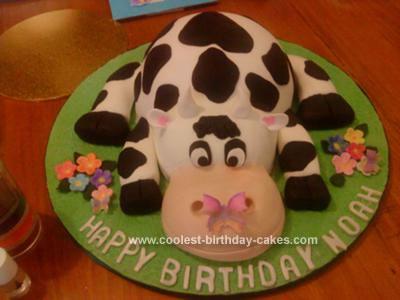 Homemade Cow Birthday Cake