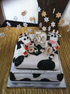 Awesome Cool Homemade 2 Tiered Cow Birthday Cake Birthday Cards Printable Riciscafe Filternl