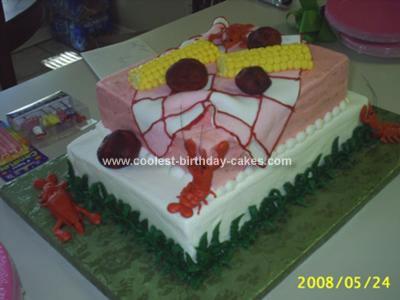 Homemade Crawfish Boil Birthday Cake