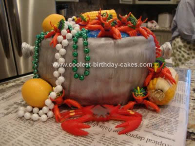 Homemade Crawfish Boil/Mardi Gras Birthday Cake
