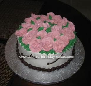 Homemade Cream Roses Birthday Cake