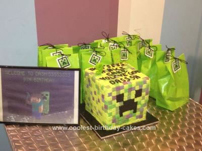 Homemade Creeper from Minecraft Cake