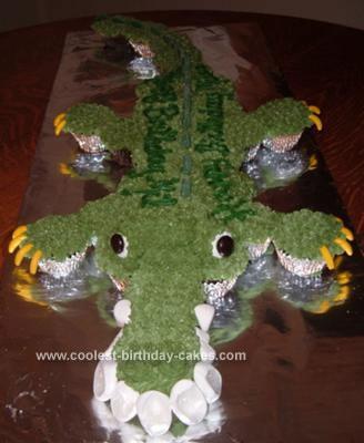 Homemade Cupcake Alligator Birthday Cake