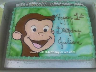Enjoyable Cute Homemade Buttercream Curious George Birthday Cake Funny Birthday Cards Online Sheoxdamsfinfo