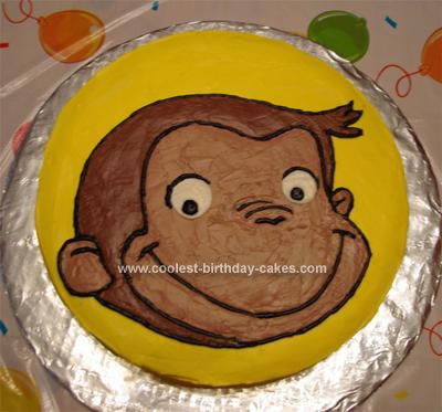 Cute Homemade Curious George Birthday Cake