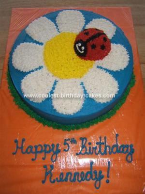 Homemade Daisy And Ladybug Birthday Cake