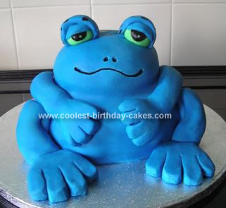 Homemade Blue Poison Dart Frog Cake