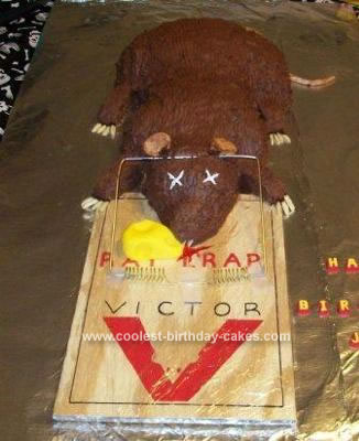 Homemade  Dead Rat in Trap Cake