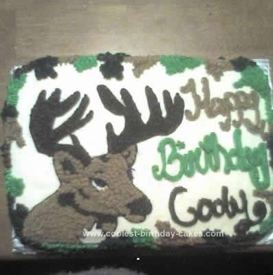 Homemade Deer and Camo Cake