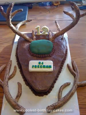 Homemade Deer Antler Birthday Cake