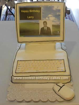 Homemade Desktop Computer Birthday Cake