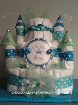 Homemade Diaper Castle Cake