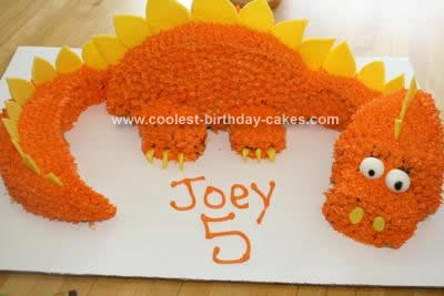Admirable Coolest Homemade 3D Orange Dinosaur Birthday Cake Funny Birthday Cards Online Aeocydamsfinfo