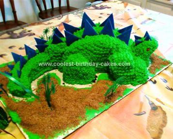 Cool Homemade Green And Blue Dinosaur Birthday Cake